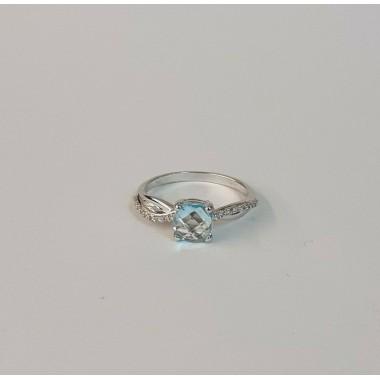 anello oro bianco 18 kt 750 misura 14 topazio azzurro