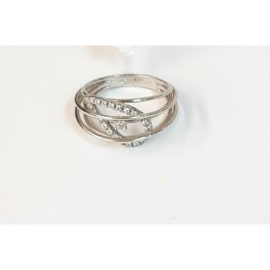 anello oro bianco 18 kt 750 zirconi bianchi misura 11 fascia