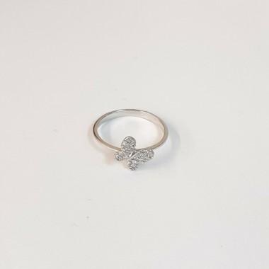 anello oro bianco 18 kt 750 misura 10 farfalla zirconi