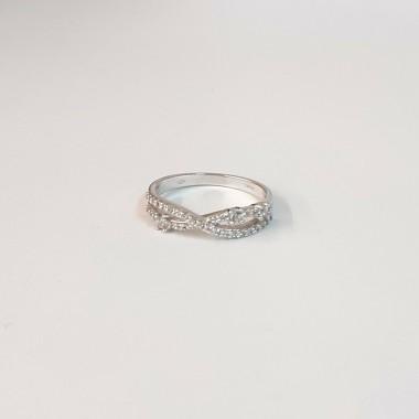 anello oro bianco 18 kt 750 misura 15 zircone fedina doppia