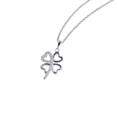 collana argento 925 bluamante quadrifoglio cuori