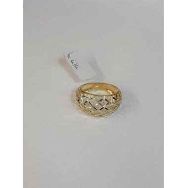 anello oro giallo bianco 18 kt 750 fascia misura 15